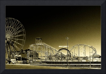 Deserted Ocean City Amusement Pier Painted Gold