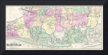 Vintage Map of South Hempstead Long Island (1873)
