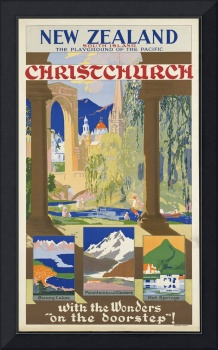 Christchurch New Zealand Vintage Travel Poster Ad