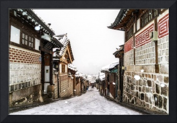 snow over bukchon