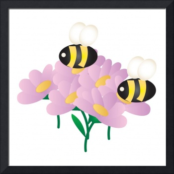 2 Bees on Flowers