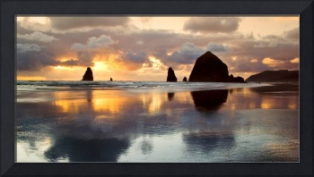 Sunset Haystacks At Cannon Beach
