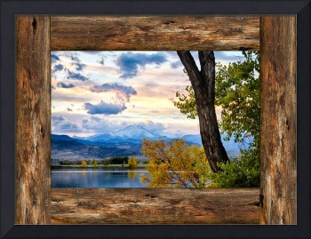 Rocky Mountain Longs Peak Rustic Cabin Window View