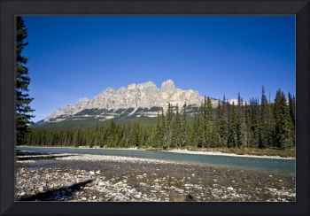 View of Castle Mountain in Banff National Park Alb