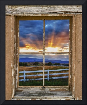Country Beams Of Light Barn Picture Window View