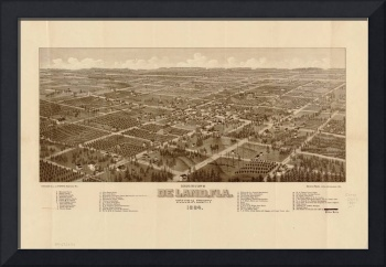 1884 De Land, FL Bird's Eye View Panoramic Map