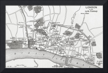 Plan of London in the 13th century