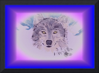 The beautiful wolf with blue frame