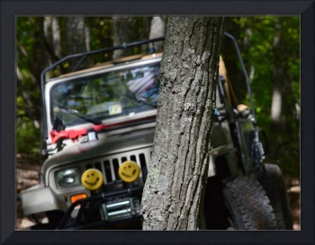 Jeep Behind A Tree