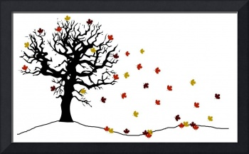 autumn tree and falling leaves