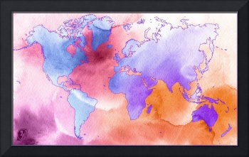 Word World Map Water color