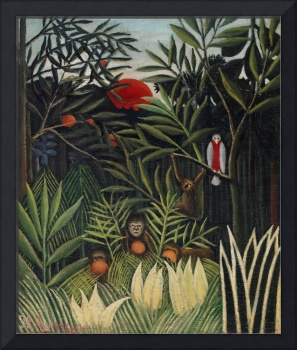Monkeys & Parrot in the Virgin Forest by Rousseau