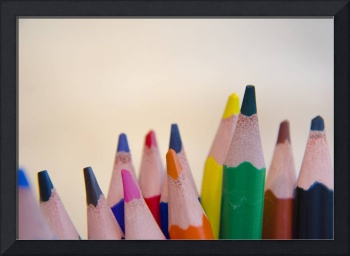 macro photo photography of wooden color pencils