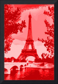 Eiffel Tower Seine River Bridge Enhanced salmon