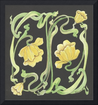 yellow art nouveau lily