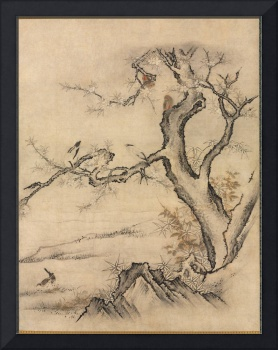 Flowers and Birds Hanging Scroll by Kano Motonobu