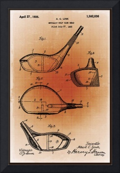 Golf Club Patent Blueprint Drawing Sepia