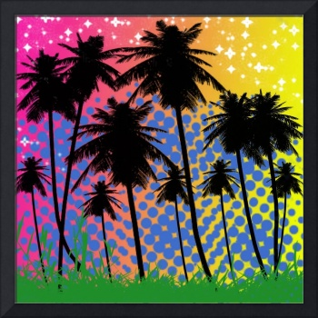colorful palm tree background from photoshop