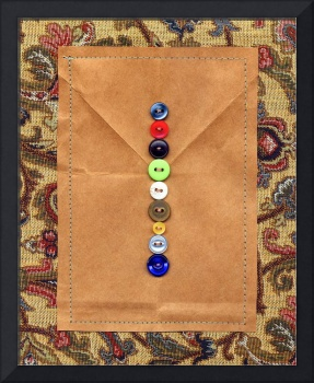 Letter I with Vintage Buttons and Brown Paper Bag