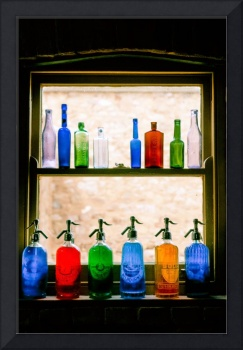 Vintage bottles on window sill