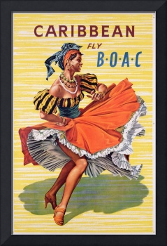 Poster advertising B.O.A.C. flights to Caribbean