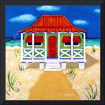 Tiny Red Roof Cottage by the Sea - Beach Seashore