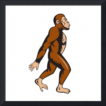 Neanderthal Man Walking Side Cartoon