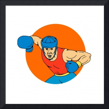 Amateur Boxer Overhead Punch Circle Drawing