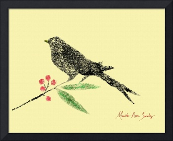 Decorative Black Bird and Red Berries on Yellow R