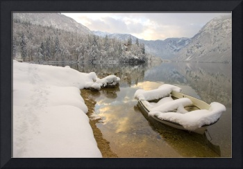 Winter in Lake Bohinj, Slovenia.