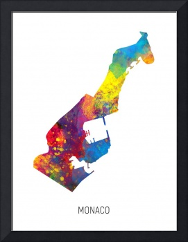 Monaco Watercolor Map