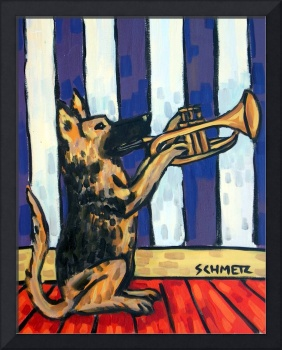 German SHepherd Playing the Trumpet