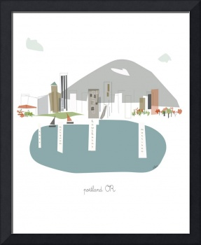 Portland Bridges Modern Cityscape Illustration