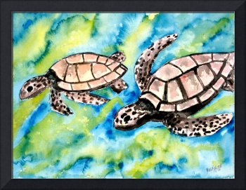 pair of sea turtles watercolor painting