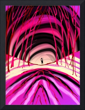 Digital painting of a man inside the tunnel