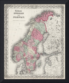 Vintage Map of Norway and Sweden (1865)
