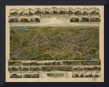 1892 Webster, MA Birds Eye View Panoramic Map