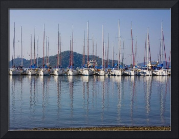 Yachts Docked In The Harbor Gocek, Mugla Province