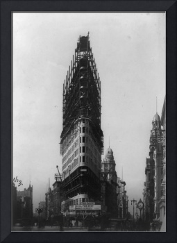 Old NYC Flat Iron Building Construction Photograph