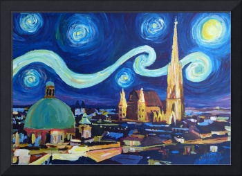 Starry Night in Vienna Austria - Saint Stephan Cat