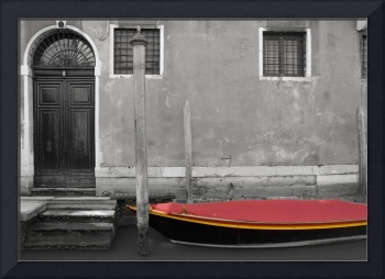 A Small Boat With A Red Cover On A Canal, Venice,