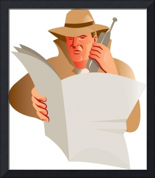 male detective calling cellphone newspaper