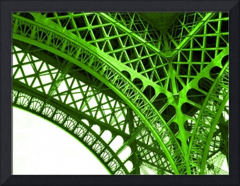 Eiffel Tower Paris France Yellow Green Detail Arch