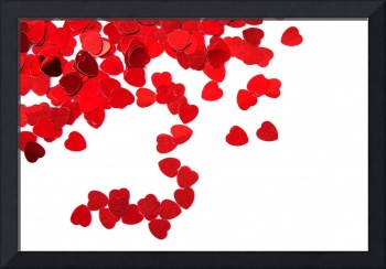 Valentines composition of the red heart over white