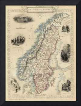 Vintage Map of Norway and Sweden (1851)