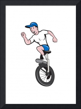 Cyclist Riding Unicycle Cartoon