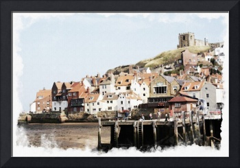 Digital Watercolor of Whitby Harbour N.E England