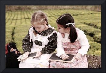 Young girls doodling