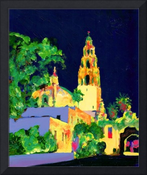 The California Bell Tower Balboa Park at Night