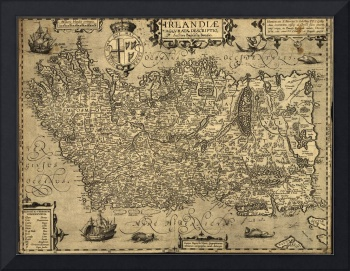 Vintage Map of Ireland (1606)
